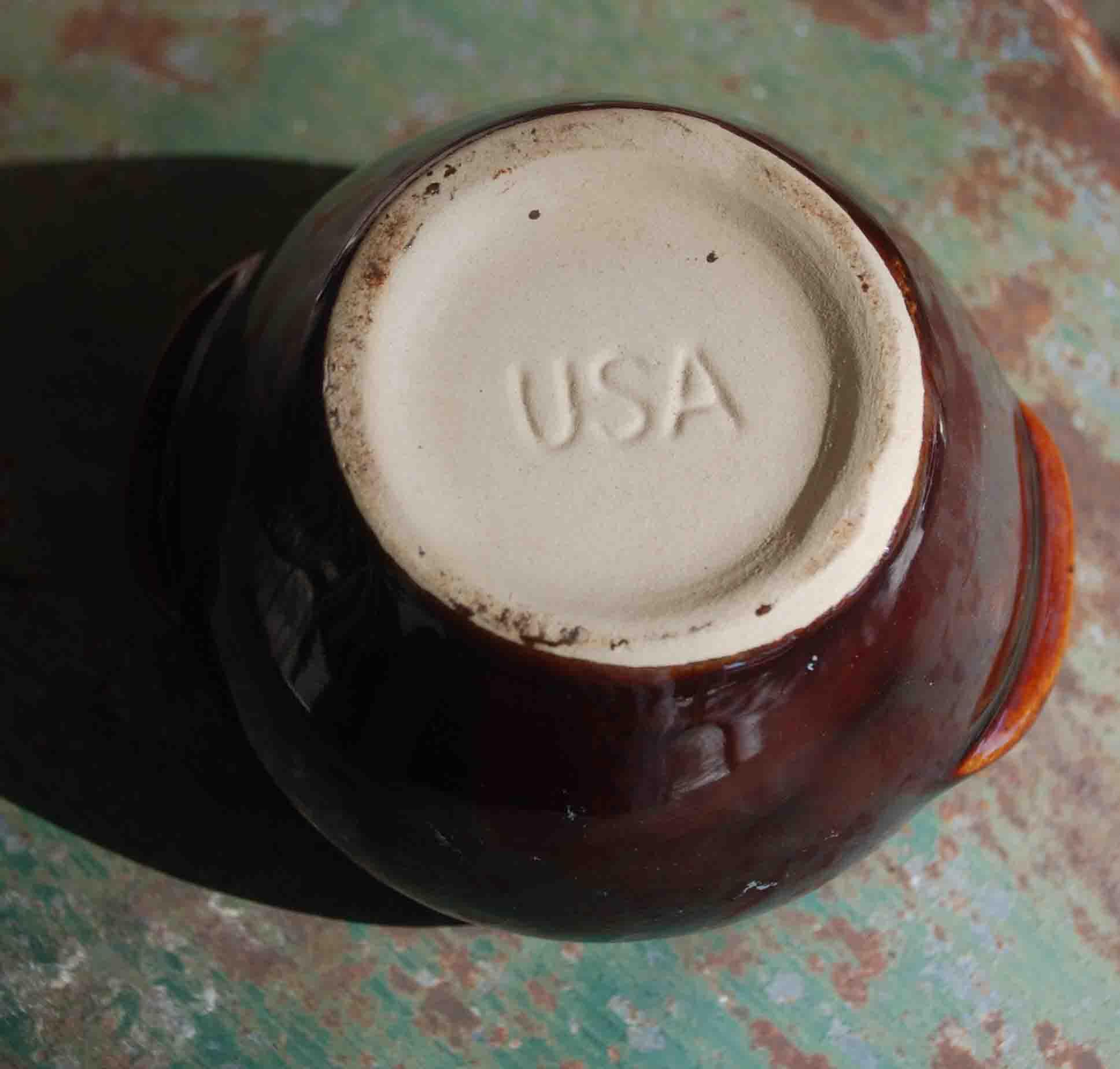 Vintage Brown Glazed Handled Bean Pot