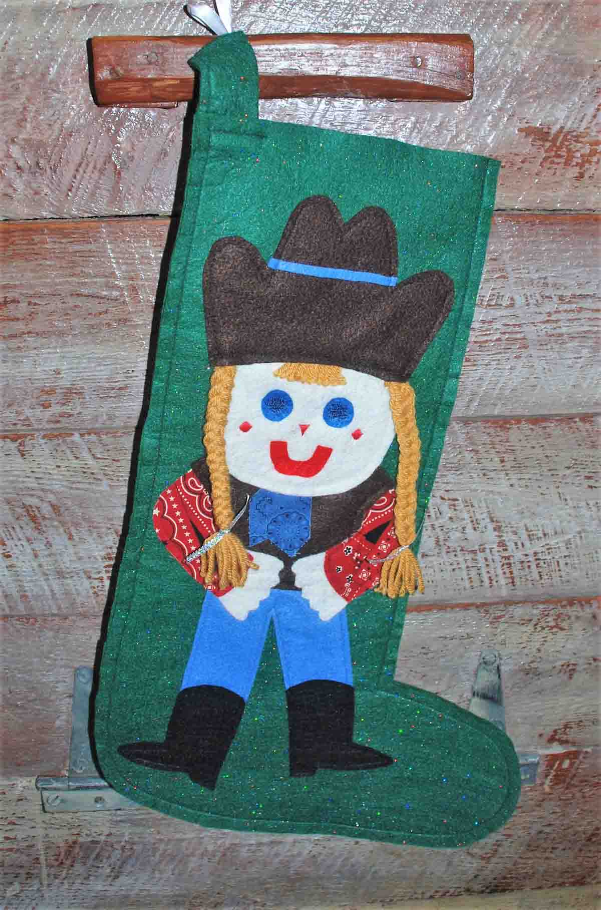 Handmade Felt Cowkid's Stocking