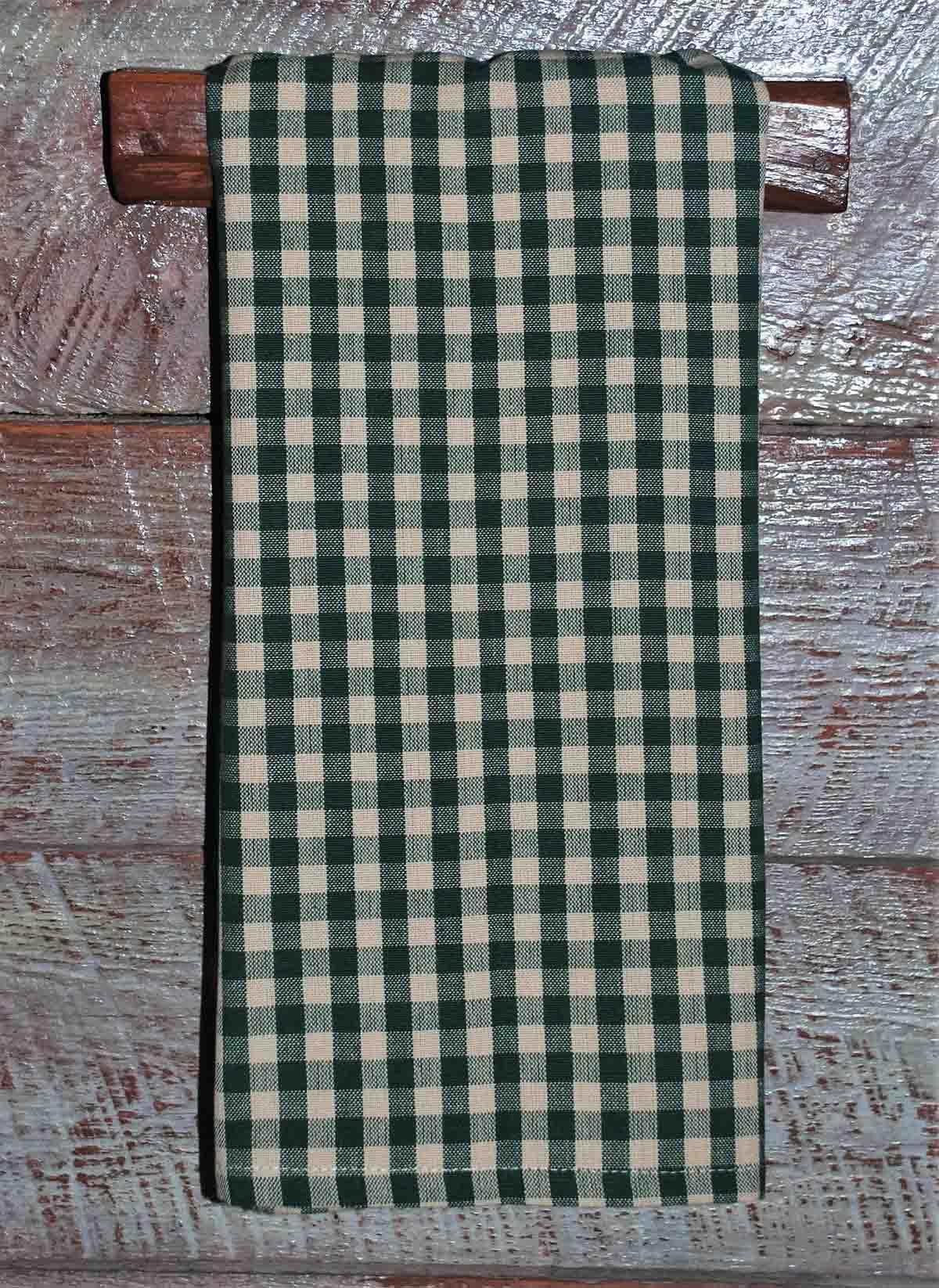 Green Tea Dyed Small Check Tea Towel