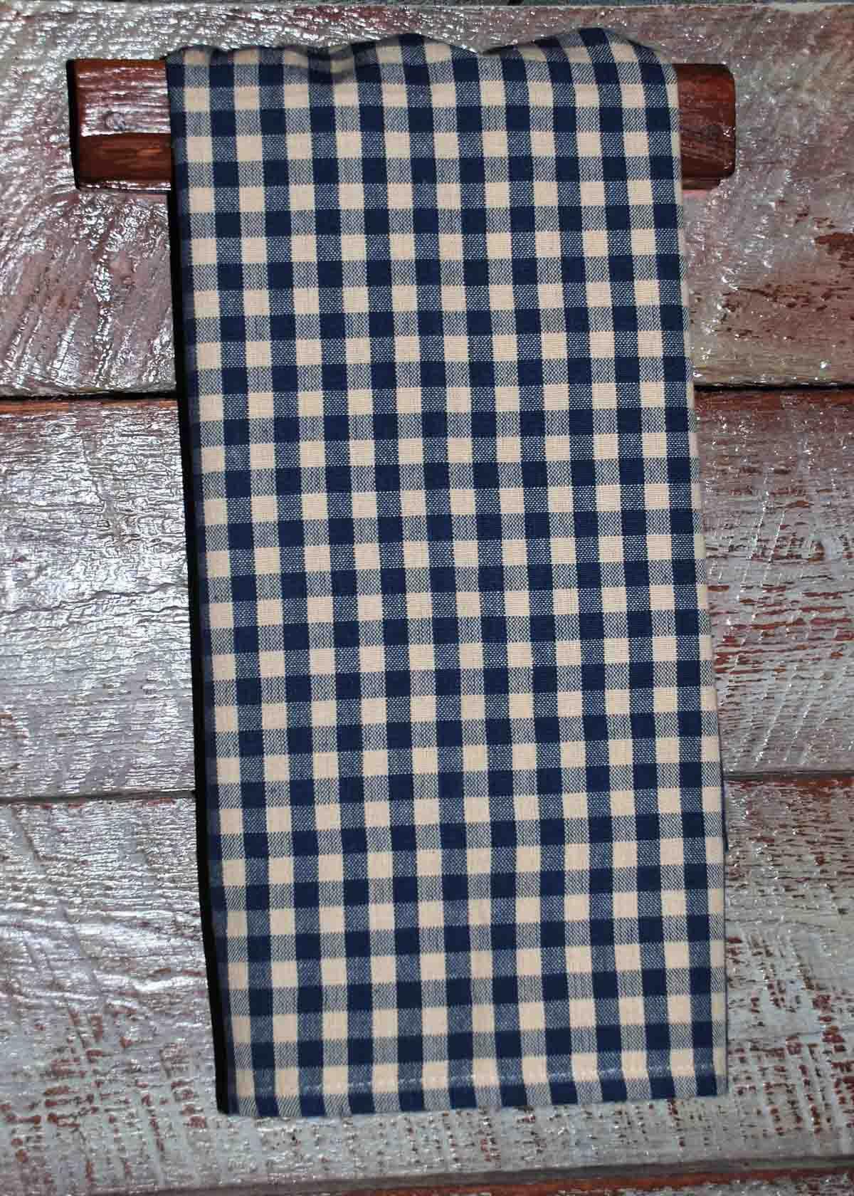 Navy Tea Dyed Small Check Tea Towel